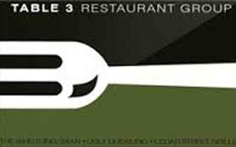 Buy Table 3 Restaurants Gift Cards